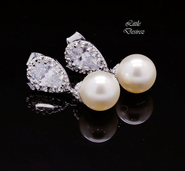 Dangle Earrings Pearl Drop Earrings CZ Earrings P44P