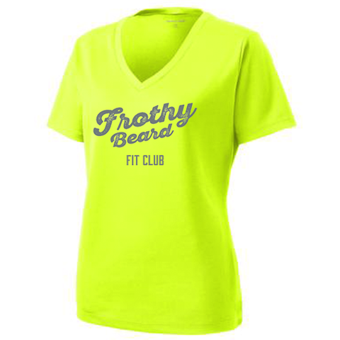 Frothy Beard - Women's Sport-Tek RacerMesh V-Neck Tee