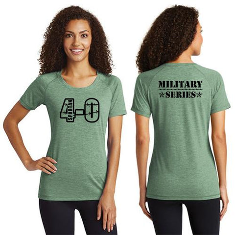 CLEARANCE ITEM - Spartan 4-0 Army Series Sport-Tek Ladies PosiCharge Tri-Blend Wicking Scoop Neck Raglan Tee