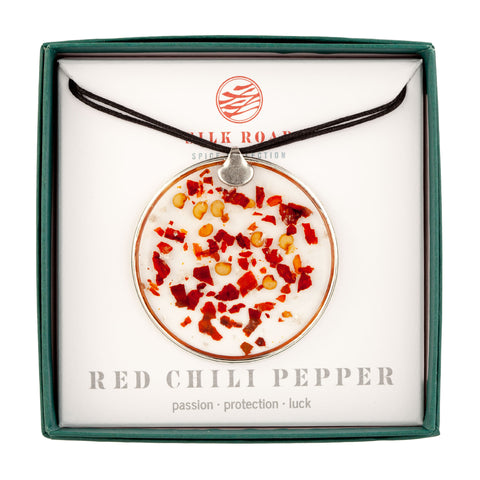 Red Chili Pepper Large Round Necklace Adjustable