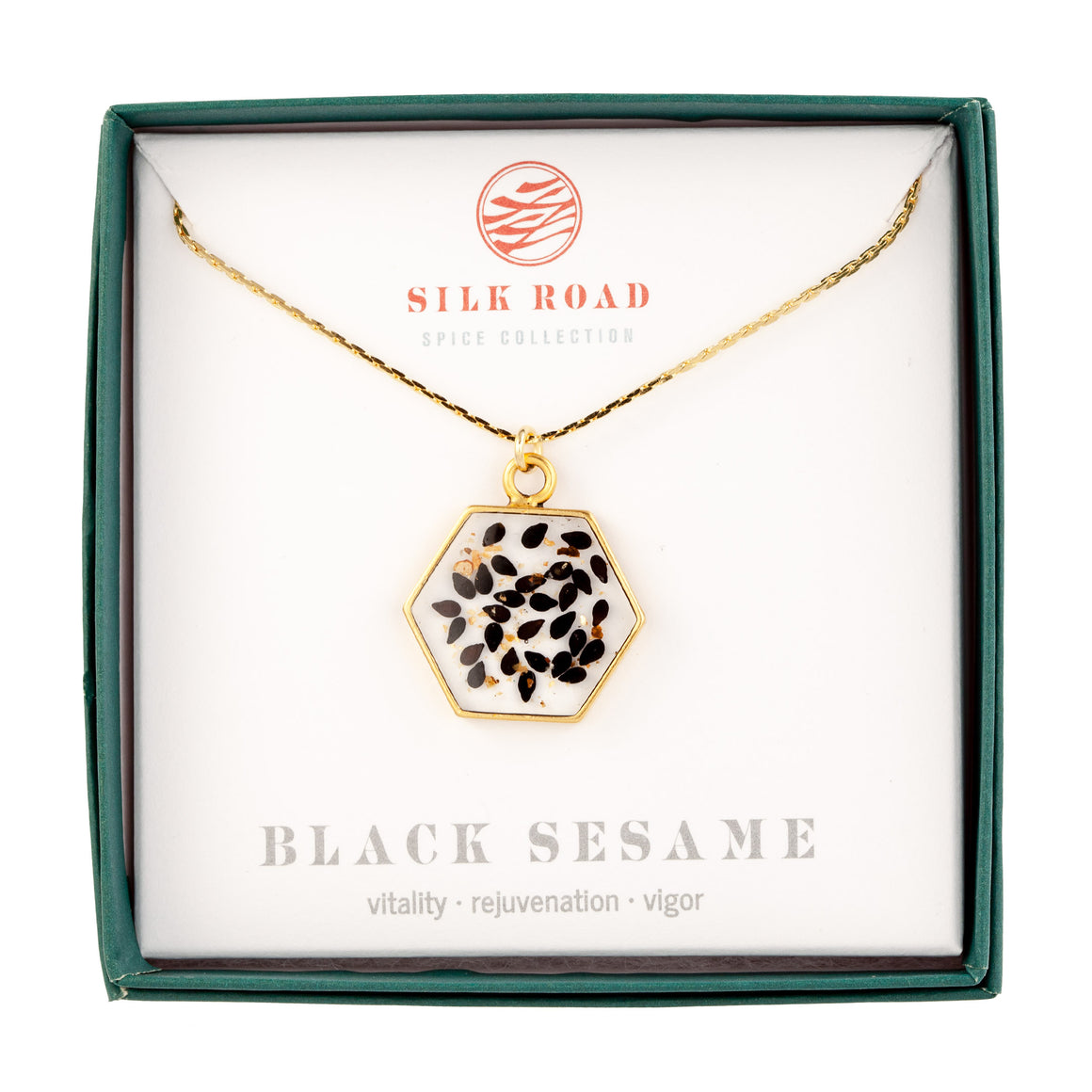 Black Sesame | Large Hexagonal Necklace