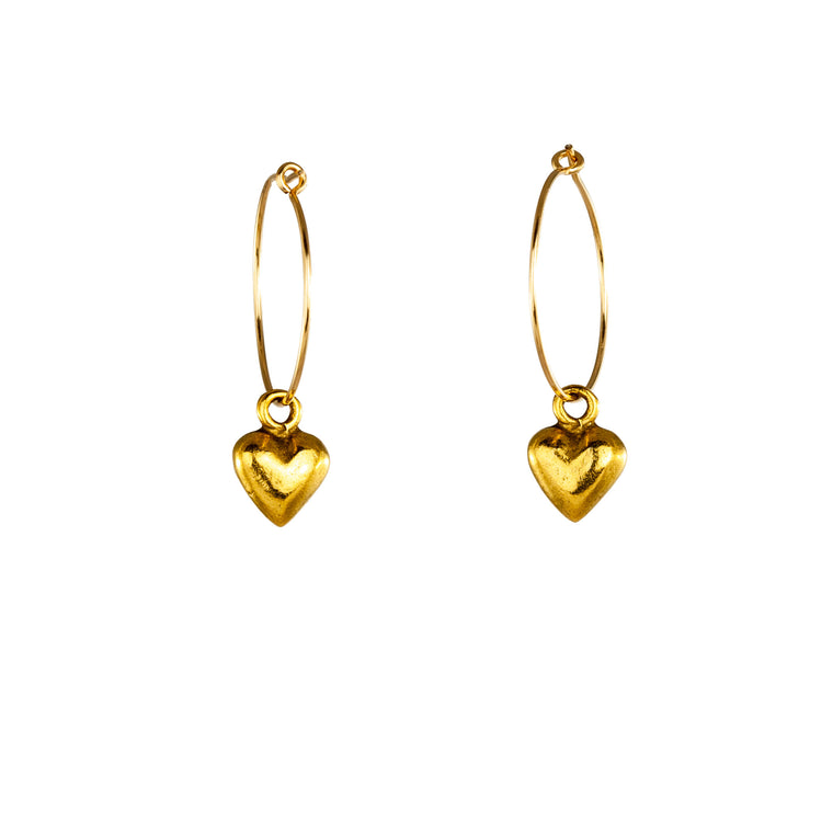 Small Hoop Heart Earrings