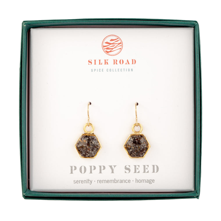 Poppy Seeds | Small Hexagonal Earrings