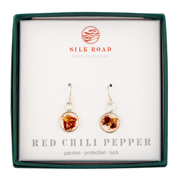 Red Chili Pepper | Tiny Round Earrings