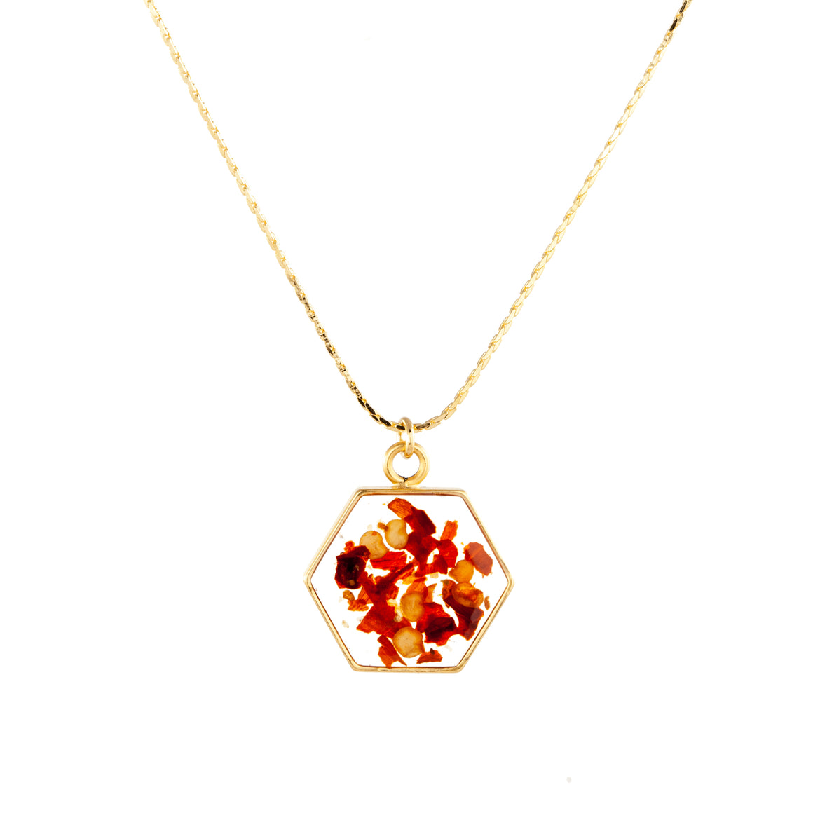 Red Chili Pepper | Large Hexagonal Necklace