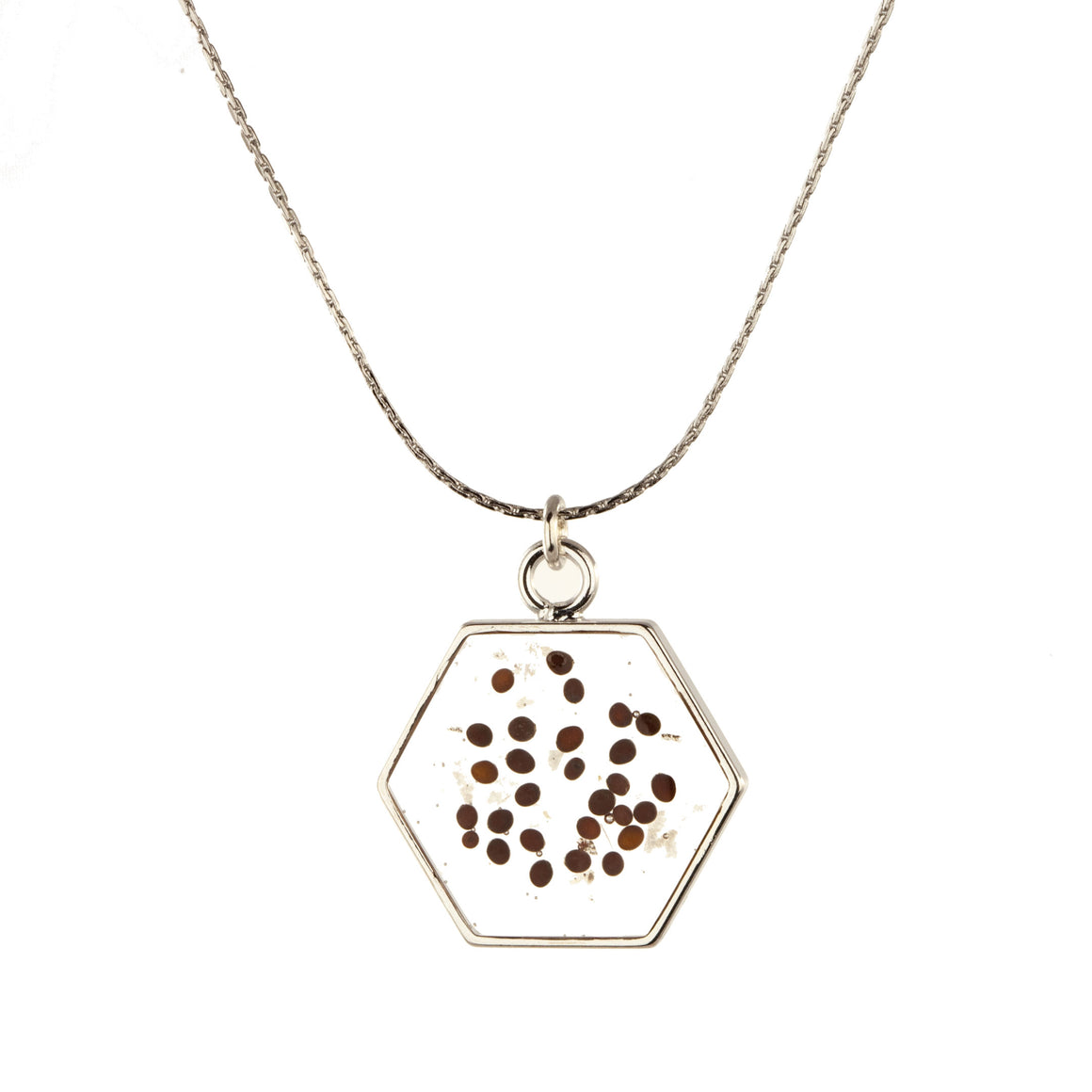 Red Mustard Seed | Large Hexagonal Necklace