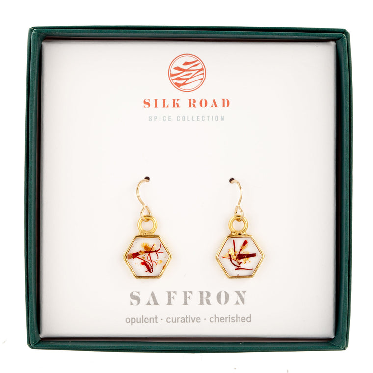 Saffron | Small Hexagonal Earrings