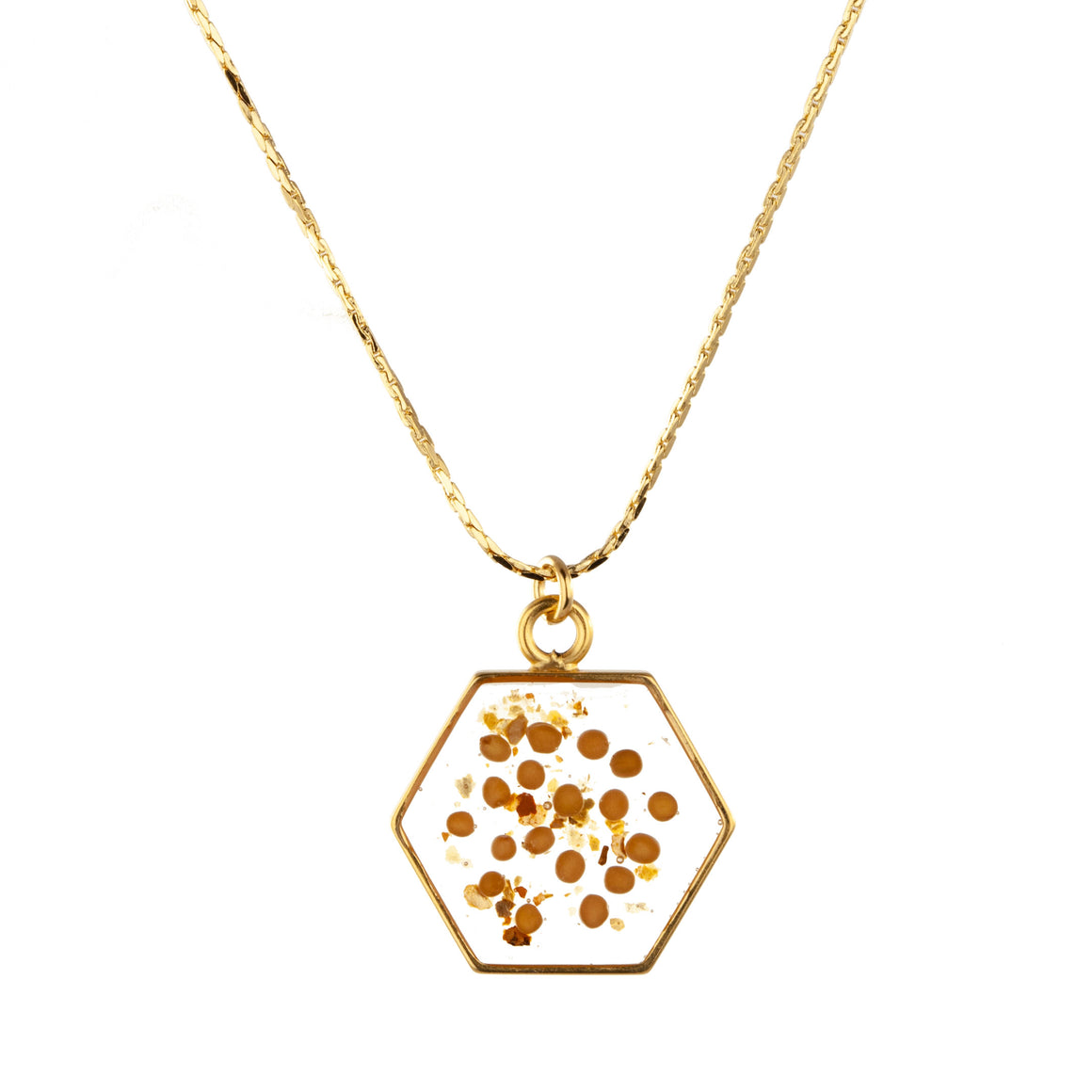 Yellow Mustard Seed | Large Hexagonal Necklace