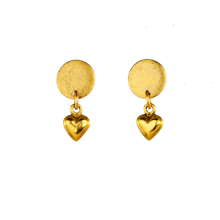 Round Stud Heart Earrings