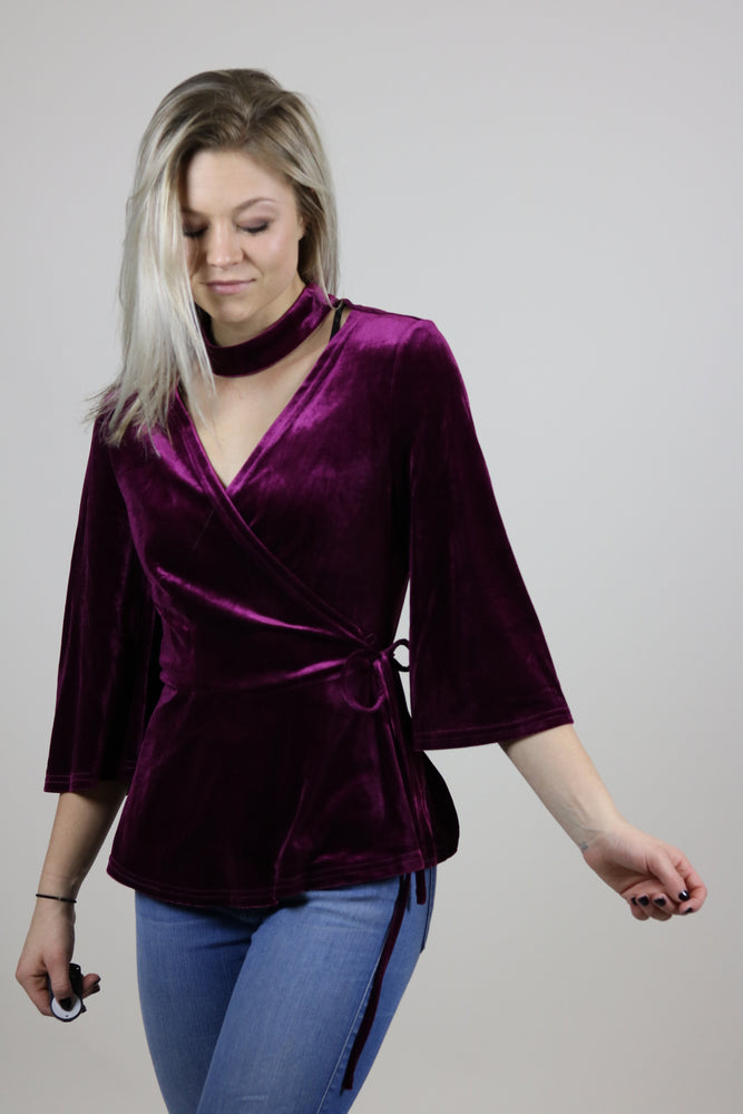Velvet Wrap Blouse