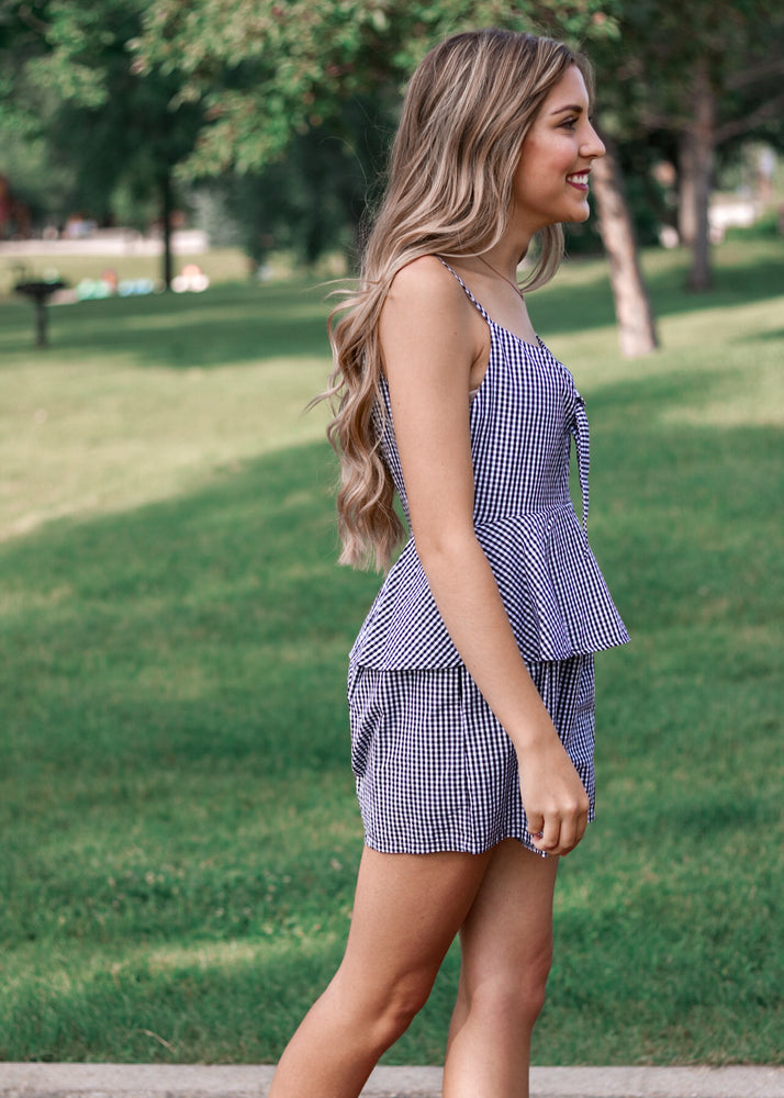 Gingham Layered Romper