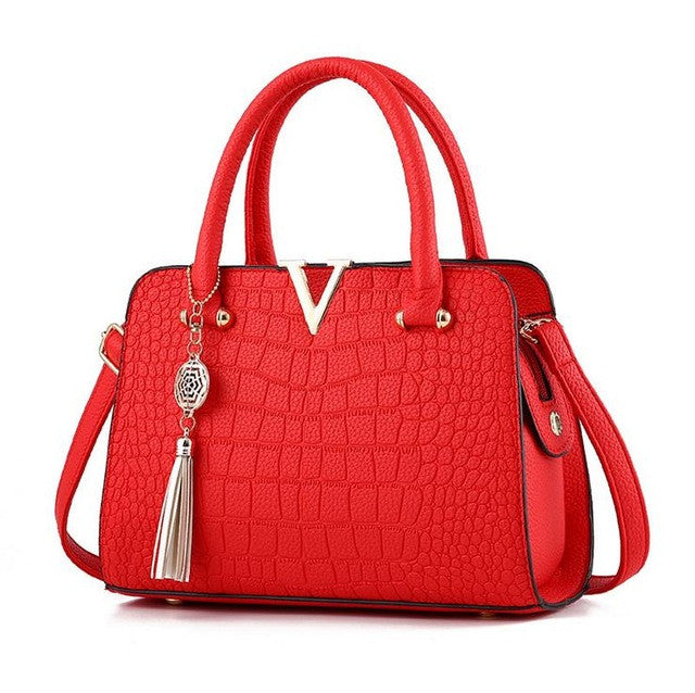 Ladies Crocodile Print Handbag - Red