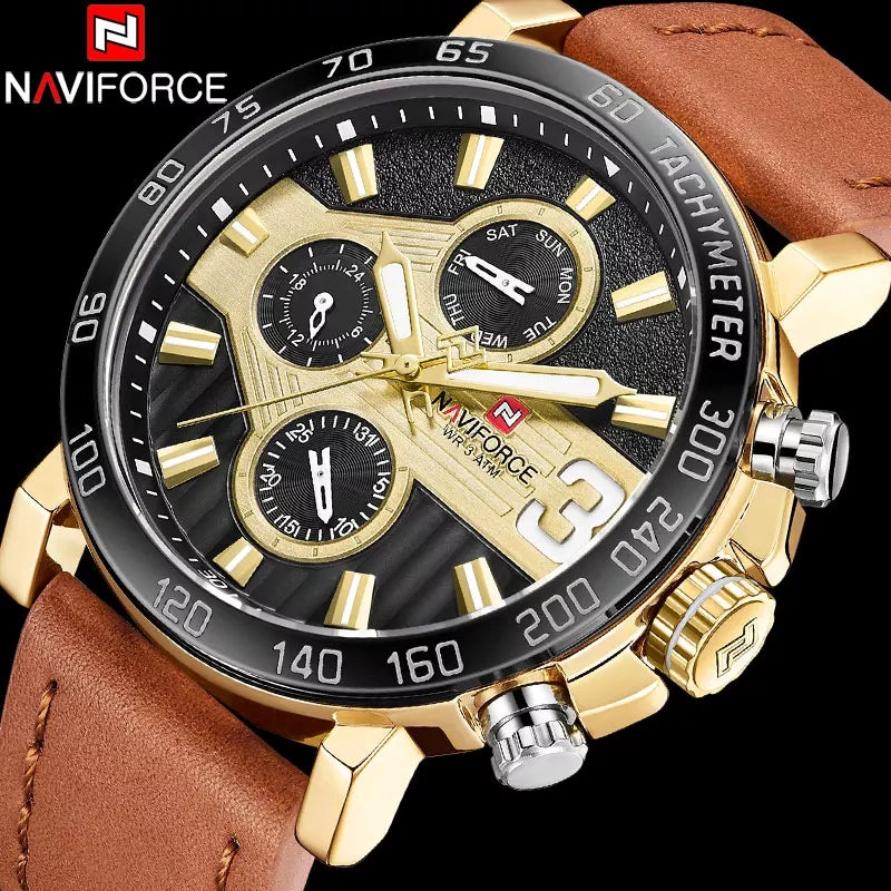 Men's Formal 9137 Naviforce Watch With Genuine Leather Band  - Brown Gold