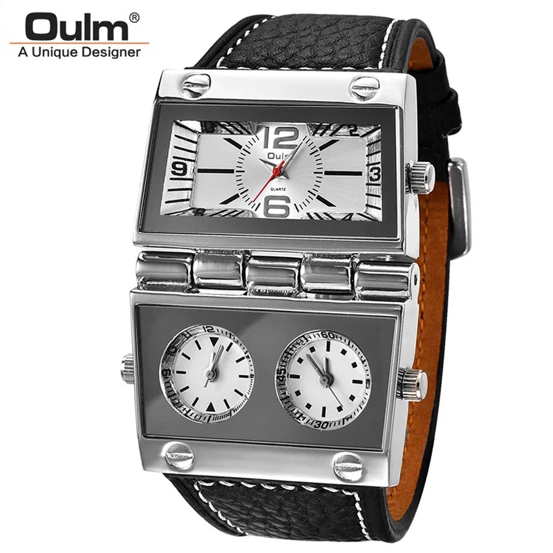Men's Dual Dial Vintage WristWatch - black and silver