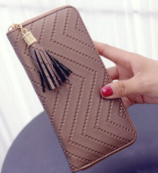 Ladies Zigzag Patterned Casual Wallet - Brown