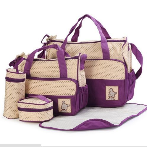 5pcs Baby Changing Diaper Nappy Bag - Purple