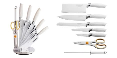 Royalty Line 8 PCS NON-STICK COATING KNIFE SET  and STAND - White
