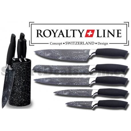 ROYALTY LINE 5 Piece Marble Coated Knife Set with Stand - BLACK