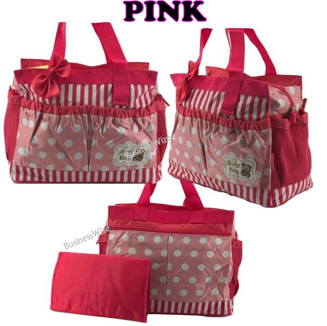 2pcs Baby Changing Diaper Nappy Bag - Pink