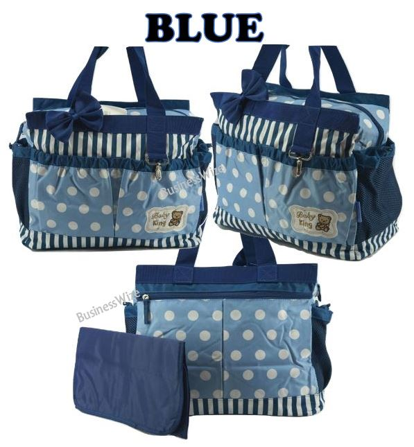 2pcs Baby Changing Diaper Nappy Bag - Blue