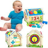 Multi-Functional Intelligent Wooden House Blocks Play Set for Kids - Shapes, Number, Colours