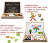 Alphabet Letter & Animal Magnetic Whiteboard & Chalkboard Set In a Wooden Box