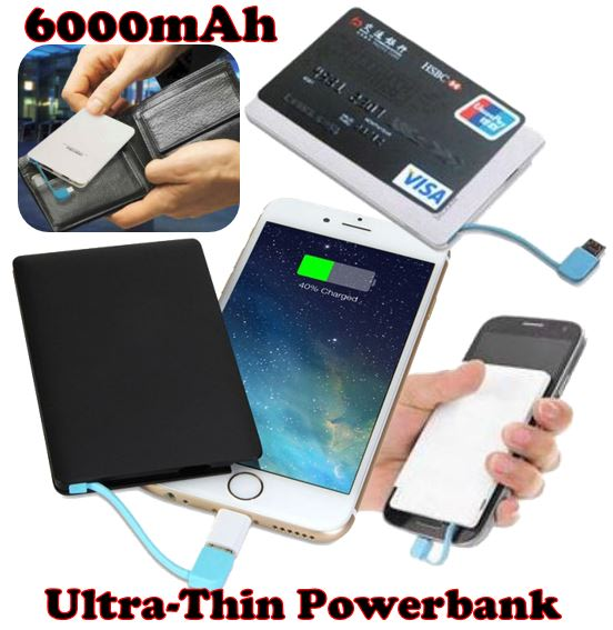 Ultra Thin 6000 mAh Power Bank for Charging for Android Devices