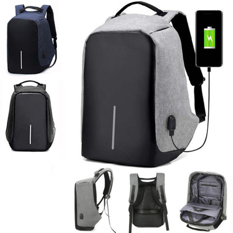 Mens Womens  Anti Theft Laptop Notebook Backpack + USB Charging Port (needs a USB power bank)  - Black