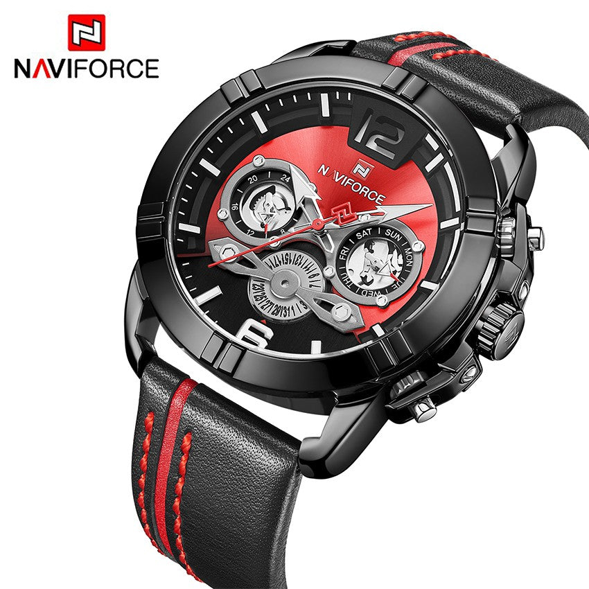 Men's Naviforce Watch (9168)- Black and Red