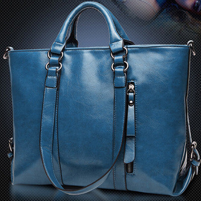 Genuine Leather Tote Handbag (Genuine Cow Hide)- Sapphire Blue