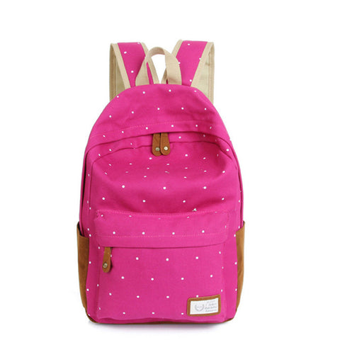 Ladies Canvas Satchel Rucksack - Rose Red