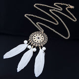 Vintage Carved Flower Feather Necklace