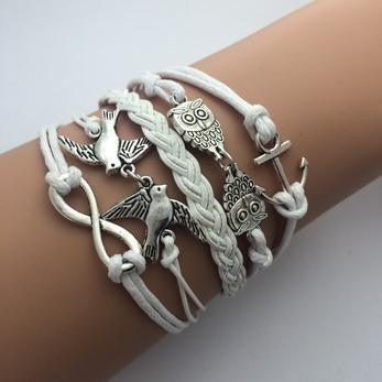 Leather Infinity Bracelets - Owls and Birds