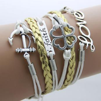 Leather Infinity Bracelets - Love Faith