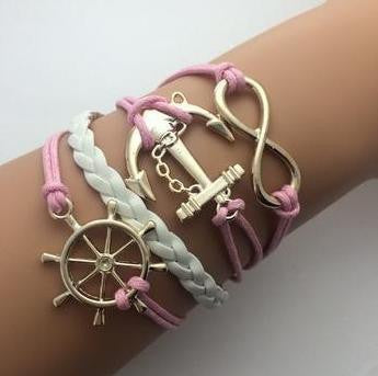 Leather Infinity Bracelets - Infinity Anchor