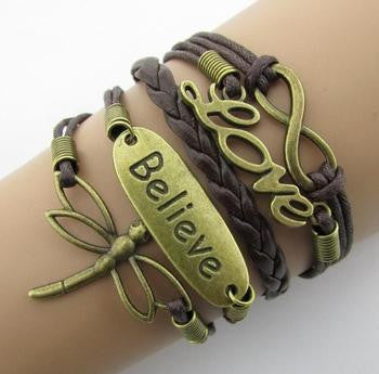 Leather Infinity Bracelets - Love Believe