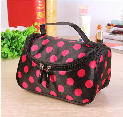 Travel Organiser Toiletry Cosmetic Bag - Polka Pink