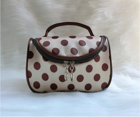 Travel Organiser Toiletry Cosmetic Bag - Polka Brown