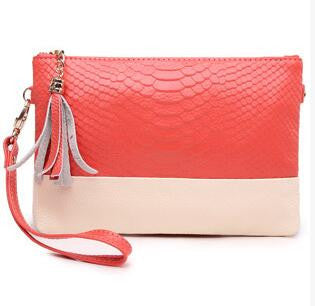 Genuine Leather Ladies Crocodile Tassle Messenger Clutch Bags - 2 colours