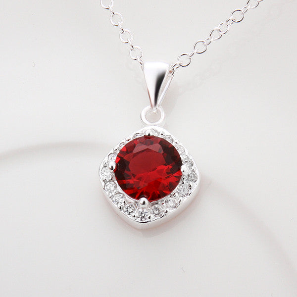 Silver Plated Red Crystal Necklace and Pendant