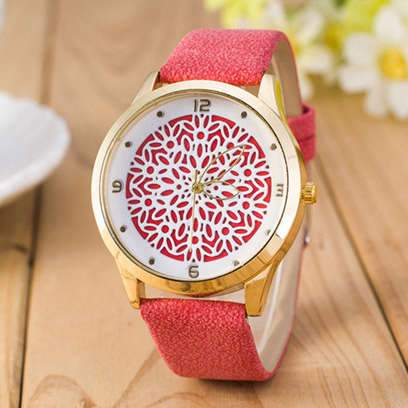 Ladies Flower Watch - Red