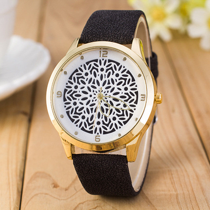 Ladies Flower Watch - Black