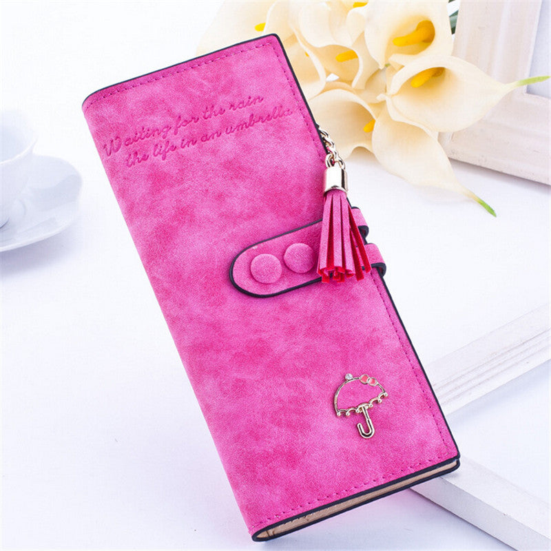 Ladies MultiFunctional Casual Wallets - Rose Red