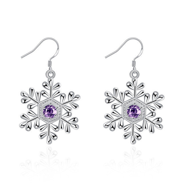Snow Flower Purple Stone Drop Hook Earrings
