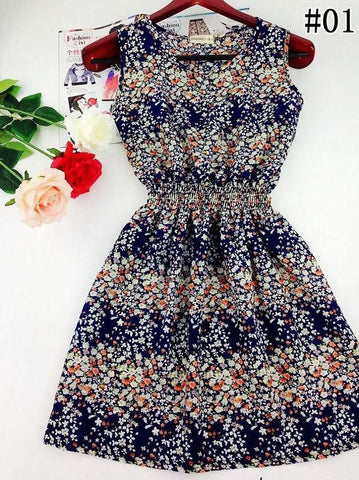 Floral Beach Dress (Dark Blue) - Large