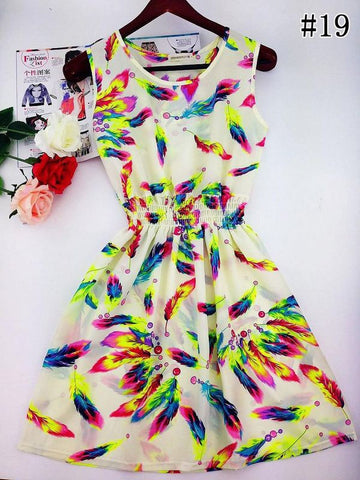 Floral Beach Dress (White) - Small