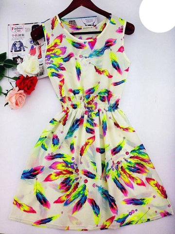 Floral Beach Dress (White) - Large
