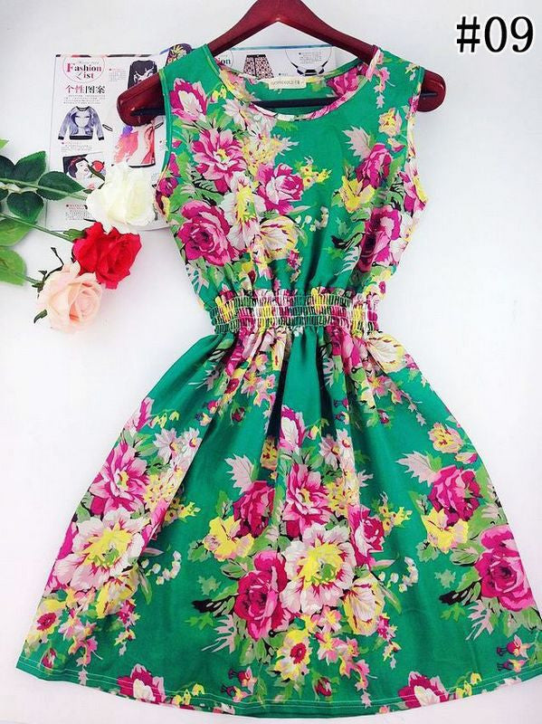 Copy of Floral Beach Dress (Green) - Small