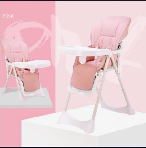 Adjustable, Folding Baby Feeding Chair - Pink