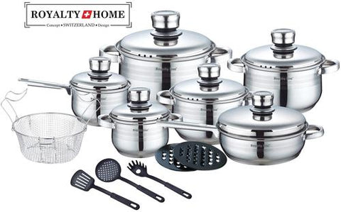 Royalty Line (18 pcs finest grade material) Stainless Steel Cookware Royalty Line